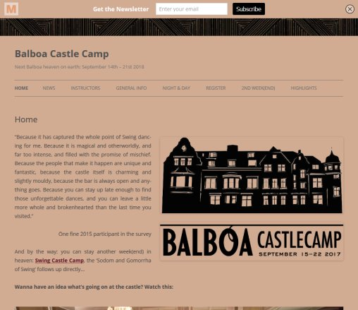 Balboa Castle Camp | Balboa heaven on earth / September 16th 23rd 2016 (next edition: September 15th 22nd 2017)  Öffnungszeit