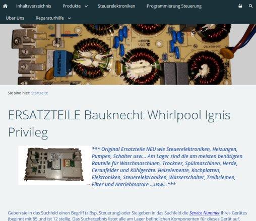 Ersatzteile Bauknecht Whirlpool Ignis Privileg Elektronik Goslar