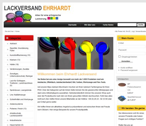 Ehrhardt Lackversand Online Shop Info Wittgert