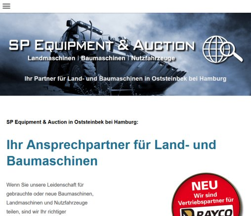 Land  und Baumaschinen   SP Equipment  Auction   Sönke Peters  Oststeinbek/Hamburg  Germany  Öffnungszeit
