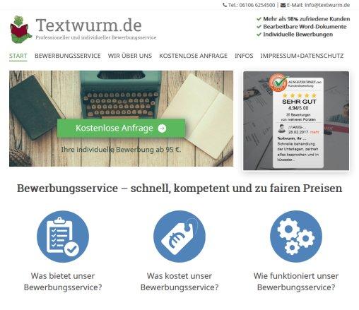 Bewerbungsservice Textwurm Bewerbungshilfe Bewerbung Schreiben