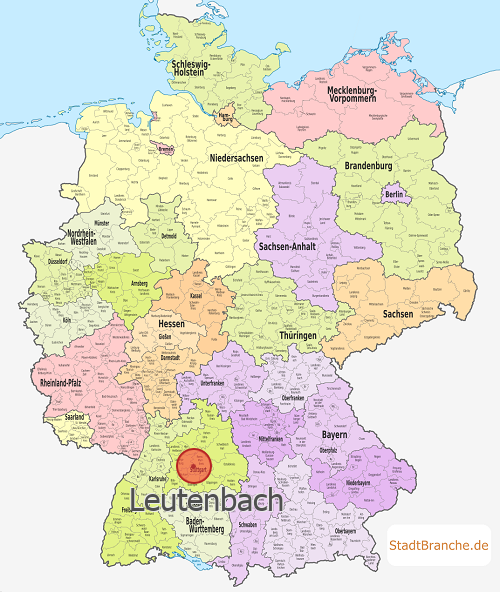 deutschlandkarte mit leutenbach