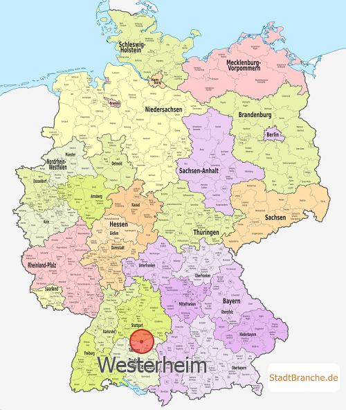 deutschlandkarte mit westerheim