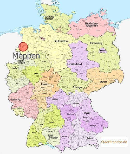 Emsland Karte.Meppen Landkreis Emsland Niedersachsen